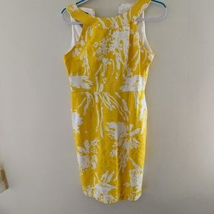 Muse yellow and white Textured dress. Size 8